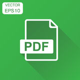 PDF icon. Business concept pdf rormat pictogram. Vector illustra. Tion on green background with long shadow Stock Photography