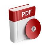 PDF książki ściągania kartoteka ikona 3 d Obrazy Stock