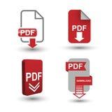 Pdf-nedladdningsymboler Royaltyfri Illustrationer