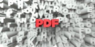 PDF - Röd text på typografibakgrund - 3D framförd fri materielbild för royalty royaltyfri illustrationer