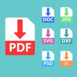 PDF, SVG, DOC, JPG, PSD, AI file formats. Vector icons. Collection of vector icons. Download signs. PDF, SVG, DOC, JPG PSD file formats Royalty Free Stock Photos