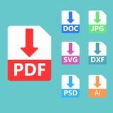 PDF, SVG, DOC, JPG, PSD, AI kartoteki formaty łatwe tło ikony zamieniają przejrzystego cienia wektor Zdjęcia Royalty Free
