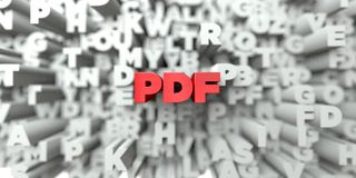 PDF - Texte rouge sur le fond de typographie - 3D a rendu l'image courante gratuite de redevance illustration libre de droits