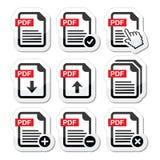 PDF upload i ściągania ikony ustawiać Zdjęcia Stock
