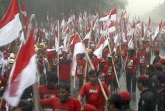 PDI-P POLITICAL RALLY FLAG MARCH Stock Photos