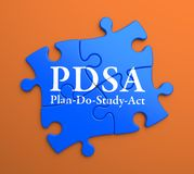 PDSA on Blue Puzzle Pieces. Business Concept. stock photos