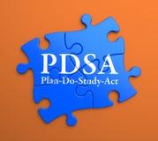 PDSA op Blauwe Raadselstukken. Bedrijfsconcept. Stock Foto's