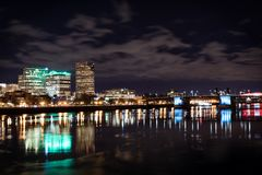 PDX Skyline Night. Beautiful downtown Portland taken from across the river, reflection on the Willamette river Stock Photo