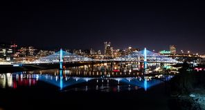 PDX Skyline Night Ross Royalty Free Stock Image