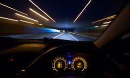 Pędzący samochód deska rozdzielcza Fotografia Stock