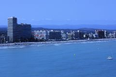 Peñiscola海岸,在肋前缘Azahar,西班牙 免版税图库摄影