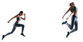 Pełnego długość pełnych rozmiarów portreta sporty energiczny zdecydowany ona jej sportsmenka działający ilustracyjny kreatywnie p obrazy royalty free