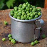 Pełnego rocznika aluminiowy kubek świezi zieleni grochy fotografia stock
