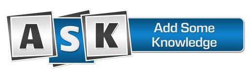 PEÇA - Adicione algum azul Grey Squares Bar do conhecimento Imagens de Stock Royalty Free