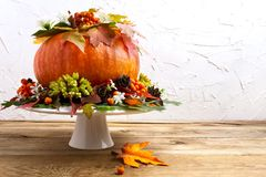 Peça central da tabela da ação de graças com abóbora, sementes e cones, co Foto de Stock Royalty Free