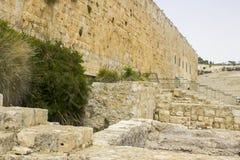 Peça da parede do sul da montagem do theTemple no Jerusalém foto de stock royalty free