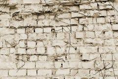 Peça da parede do tijolo com partes de rebar de uma construção velha para a demolição toning imagem de stock royalty free