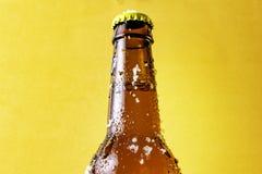 Peça de uma garrafa de cerveja muito fria com gelo fotos de stock