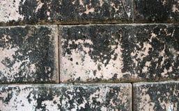Peça de uma parede de tijolo resistida velha e suja no vermelho e no marrom Fotografia de Stock