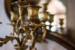 Peça do candelabro dourado Foto de Stock