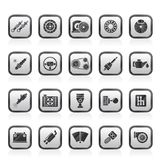 Peça do carro e ícones diferentes dos serviços Foto de Stock Royalty Free