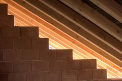 Peça do telhado de madeira Imagens de Stock Royalty Free