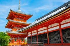 Peça do templo de Kiyomizu-dera em Kyoto, Japão imagem de stock