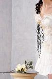 Peça do vestido de casamento fotografia de stock