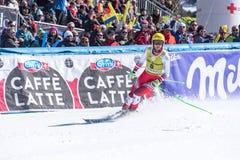 Peça dos akes de CHRISTIAN WALDER AUT na corrida para a raça SUPER de G o MENÂ dos FINAIS do MUNDO do ESQUI do FIS Ski World Cup  imagem de stock