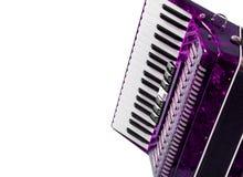 Peça o acordeão vermelho do instrumento musical, fundo branco foto de stock royalty free