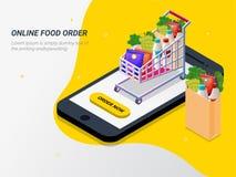 Peça o alimento, mantimento em linha do app pelo telefone esperto Rápido entregue ilustração do vetor