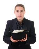 Peça o dinheiro do homem de negócio foto de stock royalty free