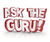 Peça a orientação da ajuda das palavras de Guru Question 3D Imagens de Stock