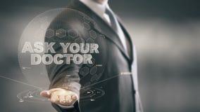 Peça a seu doutor Homem de negócios Holding novas tecnologias disponivéis ilustração stock