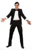 Peça surpreendida do homem de negócio suas mãos Imagens de Stock