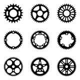 Peças da bicicleta Vetor da silhueta imagens de stock royalty free