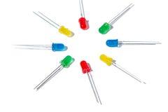 Peças de um diodo luminescente no fundo branco Foto de Stock Royalty Free