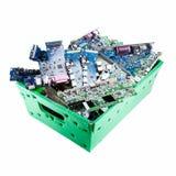Peças do computador prontas para reciclar no fundo branco foto de stock royalty free