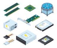 Peças do hardware e componentes diferentes do computador pessoal Imagens isométricas do vetor ajustadas ilustração do vetor