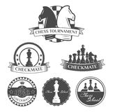 Peças do jogo de xadrez e grupo de Lables da xadrez Ilustração do vetor Fotografia de Stock Royalty Free