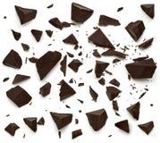 Peças escuras quebradas do chocolate imagem de stock