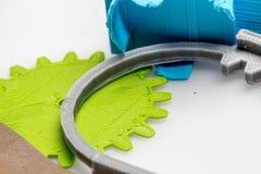 Peças impressas coloridas usando a impressora 3d Imagens de Stock Royalty Free