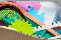Peças impressas coloridas usando a impressora 3d Imagem de Stock