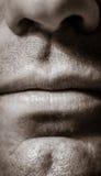 Peças masculinas macro da face - Monotone fotos de stock