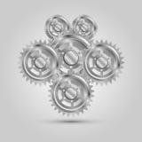Peças mecânicas da engrenagem do metal, máquina do motor Fotos de Stock