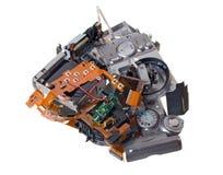 peças sobresselentes compactas quebradas da câmara digital isoladas no branco Imagem de Stock Royalty Free