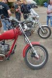 Peças vermelhas da motocicleta Fotografia de Stock
