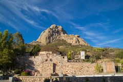 PEÑA DE BERNAL- is a monolith in the Queretaro state of Mexico. PEÃ'A DE BERNAL- is a monolith in the Queretaro state of Mexico, travel, rock royalty free stock photos