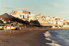 Peñiscola beach. Houses and castle Royalty Free Stock Images
