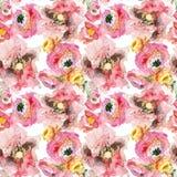 Peônia com teste padrão sem emenda da papoila cor-de-rosa e do ranúnculo alaranjado, fundo floral clássico da repetição para a We fotografia de stock